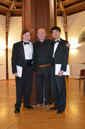 Christian Jost (Composer in Residence 2016) with the winner of the Composition Price 2016 Benjamin P. Wenzelberg and Hyun-Jin Yun  © Grafenegg